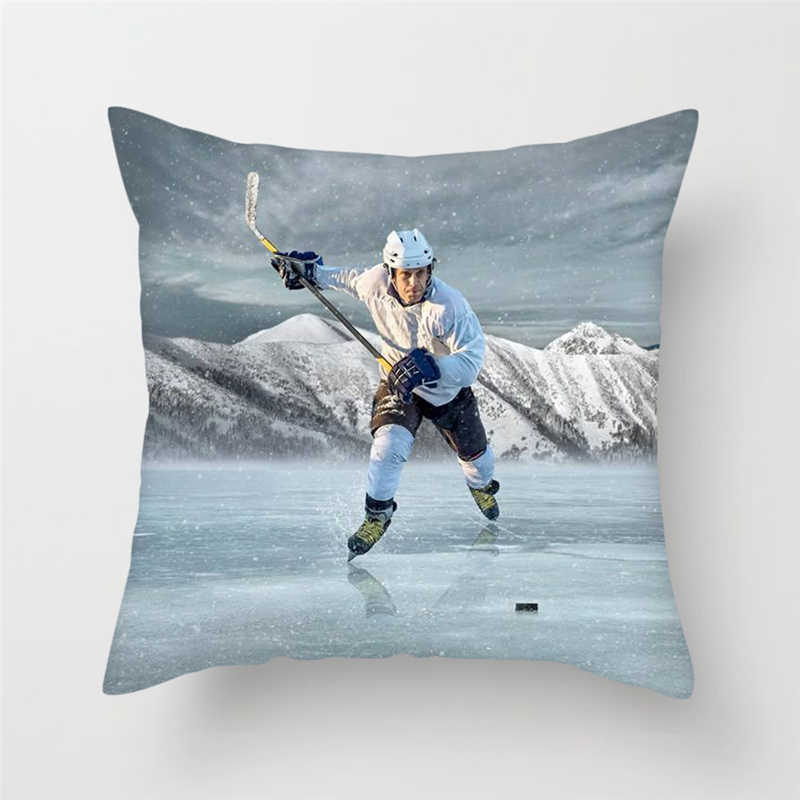 Fuwatacchi NHL الجليد سكيت الرياضة غطاء الوسادة هوكي الجليد وسادة غطاء كيس وسادة للمنزل أريكة الزخرفية لينة الوسائد حالات