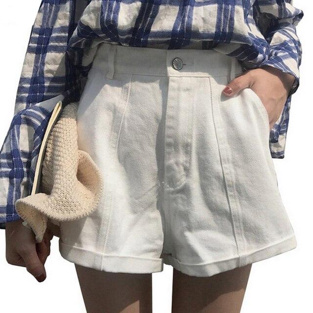8ce80525be EXOTAO Color sólido De cintura alta para mujeres Pantalones cortos De  verano nueva Ropa De Mujer Casual ancho De la pierna Pantalones cortos  Streetwear ...