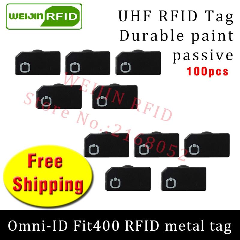UHF RFID metal tag omni-ID Fit400 915m 868mhz Alien Higgs3 EPC 100pcs free shipping durable paint smart card passive RFID tags 2016 trays management anti metal epc gen2 alien h3 uhf rfid tag 50pcs lot