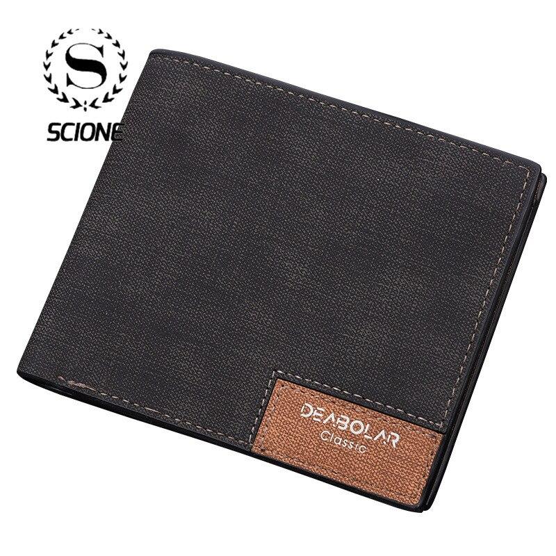 Scione Mode Männer Brieftaschen Vintage Einfarbig Kleine Geldbörse Tasche Billetera Hombre Brieftasche Leder Mit Münzfach