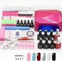 Jewhiteny Nail Art Set UV LED LAMP Dryer 6 Color Gel Nail Polish Set Kit Nail
