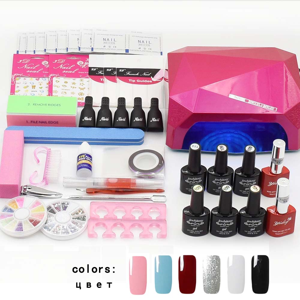 Jewhiteny nail art set UV LED LAMP Dryer & 6 Color Gel Nail Polish Set kit Nail Tools Gel Varnish lacquer manicure tools kit new 24w professional uv led nail gel 9c lamp of resurrection nail polish tools and portable five soaked nail gel art set