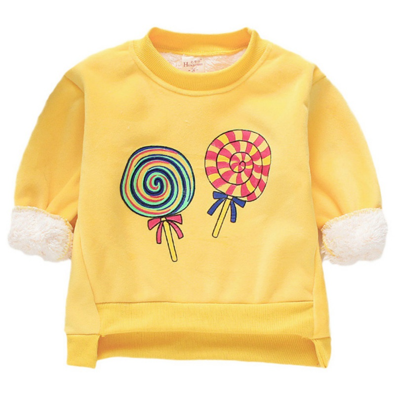Baby Clothes For Girl Long Sleeve Cartoon Print Baby Girl Sweater Top Winter Warm Plus Velvet Kids Clothes Pullover 1