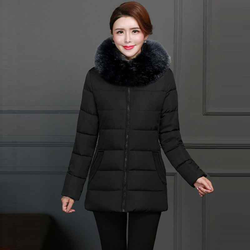 Moda Com Capuz Casaco Grande De Pele 2019 Novas Mulheres Jaqueta de Inverno de Algodão Quente Casaco Acolchoado Casaco de Inverno Feminino Para Baixo Parkas Grossas outwear