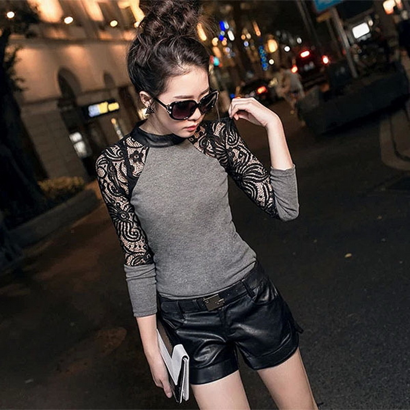 MuLian 2016 New Fashion Long Sleeve Lace Women T Shirt Leather Crew Neck Slim Splicing Sexy Tops Black Gray S M L XL XXL