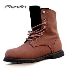 Plardin/2017 зимние Для мужчин ботинки Martin модные Повседневное круглый носок с перекрестной шнуровкой мотоциклетные ботинки на плоской подошве в римском стиле мужская обувь
