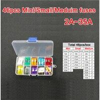 46pc Assorted Micro Mini Small Medium Blade Fuse 2A 3A 5A 7 5A 10A 15A 20A
