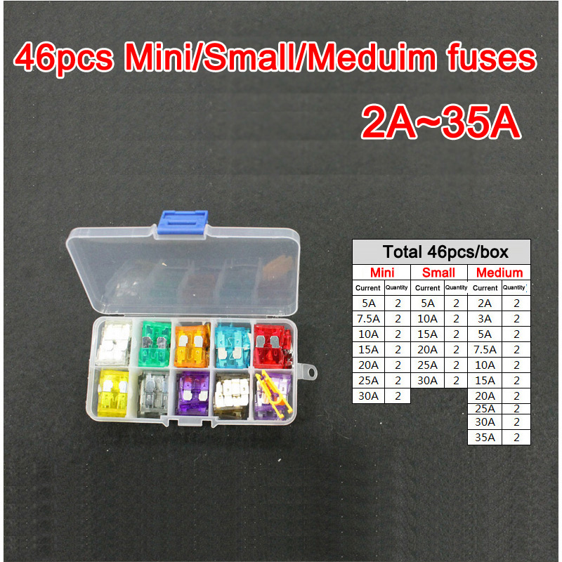 46pc Assorted Micro Mini&Small&Medium Blade Fuse 2A 3A 5A 7.5A 10A 15A 20A 25A 30A 35A Auto Car Truck Motorcycle FUSE Box Kit 40a blade contact fuse link base holder nt00 500v 120ka 660v 50ka