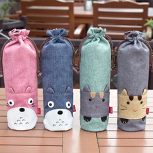 Creative Cartoon Pattern Fabric Bottle Covers Portable Design Glass Cover Thermos Accessories Bag 350/500ml
