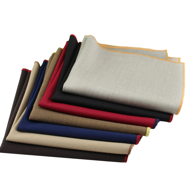 13d3ec6ae2b1f KR292-297 Men's Cotton Handkerchief Solid Pocket Square Gentleman Brown Red  Gray Chest Towel Suit Wedding Party 24*24cm Hankies