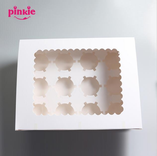 New 12 cup Muffin cake with bottom bracket cupcake box cupcakes boxes 10pcs wholesale