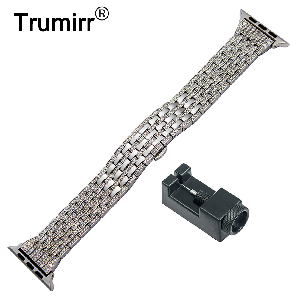 Rhinestone Diamond Watchband for iWatch Apple Watch 38mm 40mm 42mm 44mm Series 4 3 2 1 Stainless Steel Band Wrist Strap Bracelet цена