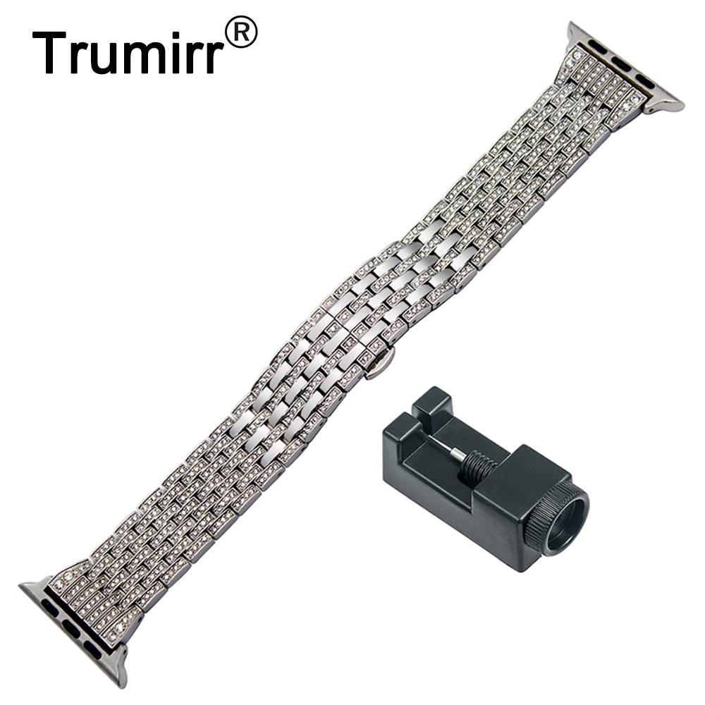 купить Rhinestone Diamond Watchband for iWatch Apple Watch 38mm 40mm 42mm 44mm Series 4 3 2 1 Stainless Steel Band Wrist Strap Bracelet по цене 1568.23 рублей