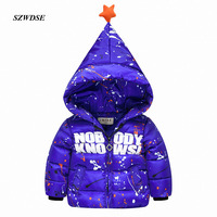 Child S Winter Christmas Windproof Warm Outwear Clothes Hooded Letter Print Colorful Paint Parkas Coat For