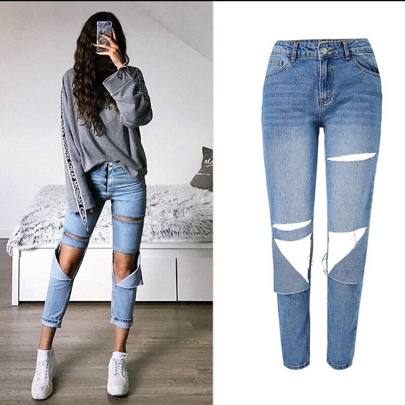 2018 Frauen Jeans Lose Freund Stil Frauen Jeans Big Loch Vintage Frauen Sexy Gerade Blau Jeans