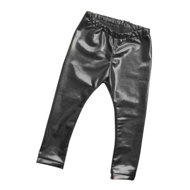 Children Girls Leather Bronzing Pants Leggings Skinny Elastic Waist Child Baby Casual Solid Black Warm Trousers 2017 New HOT