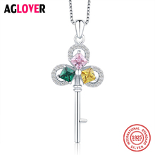 Original Design Pink / Green Yellow Crystal Necklace Woman 925 Sterling Silver Four-Leaf Clover Key Pendant Necklaces Jewelry