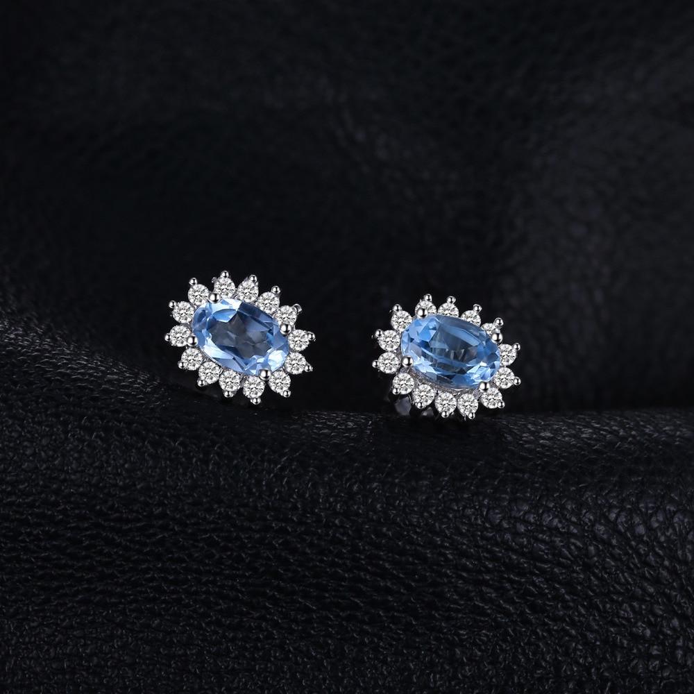 JewelryPalace Natural Topaz Gemstone Sırğalar Stud Orijinal 925 - Gözəl zərgərlik - Fotoqrafiya 2