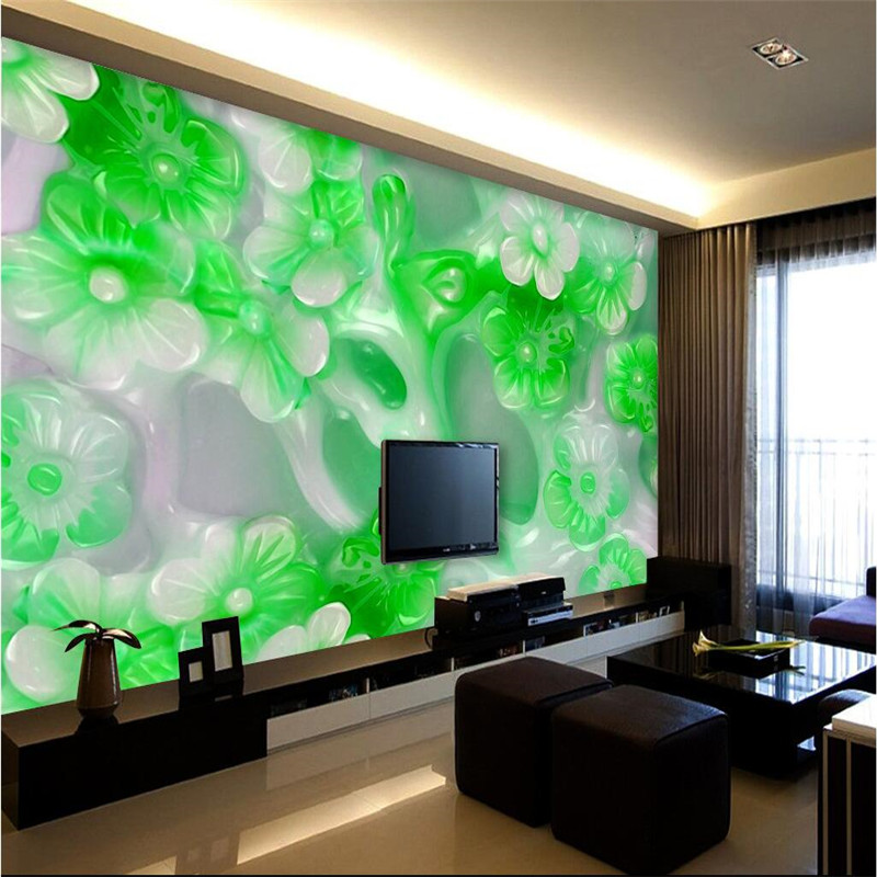 Beibehang High Quality Silk Cloth Wallpaper Jade Green Backdrop Relief Modern Decorative Painting 3d Large Mural