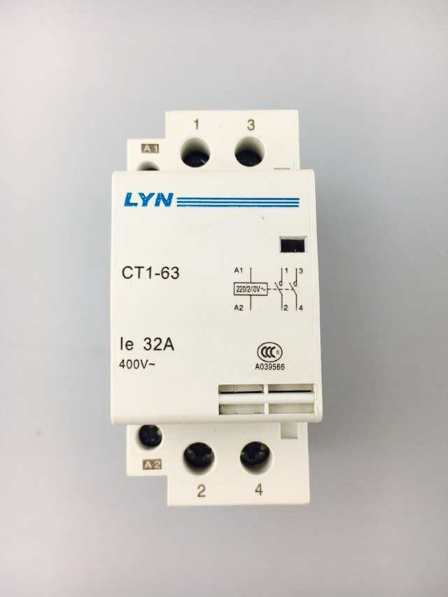 CT -63 32A 2P 2NO Household AC Contactor Starter LYN ct 2p 25a no nc ac220v home ac contactor often open ct1 25 25a lyn brand