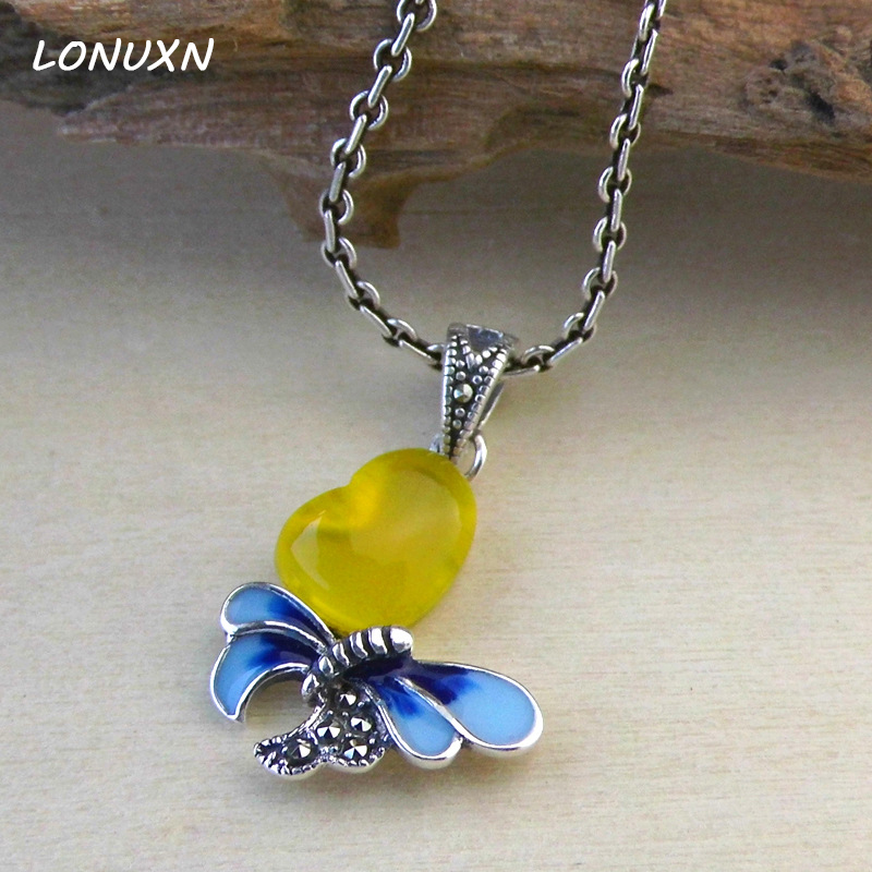 10cm 925 sterling silver jewelry yellow Chalcedony Butterfly Pendant High quality natural semi precious stones lovers best gift
