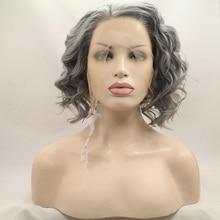 Aspecto Natural gris glussful onda del cuerpo pelucas de alta calidad a corto rizado ondulado del frente del cordón sintético peluca de fibra resistente al calor