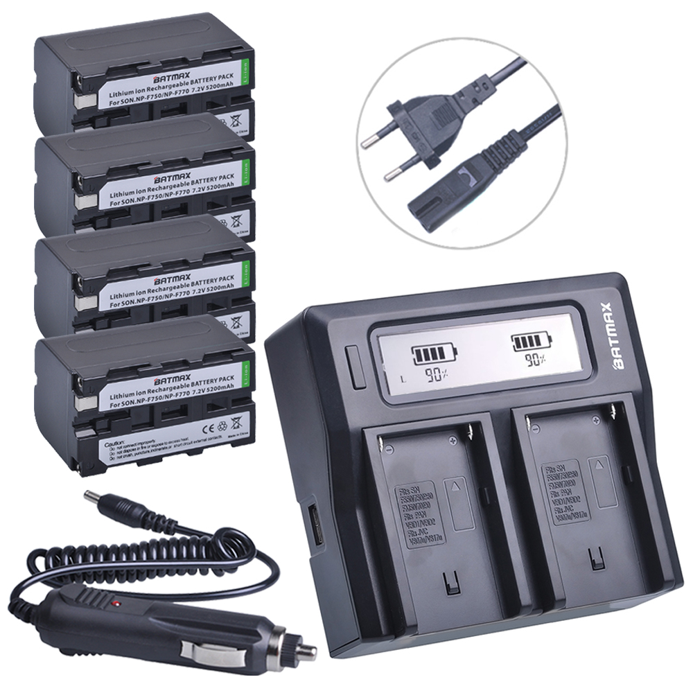 4Pcs 5200mAh NP-F770 NP-F750 NP F770 NP F750 750 Batteries + Ultra Faster LCD DUAL Charger Kits for Sony CCD-RV100 DCR-TRU47E np f960 f970 6600mah battery for np f930 f950 f330 f550 f570 f750 f770 sony camera