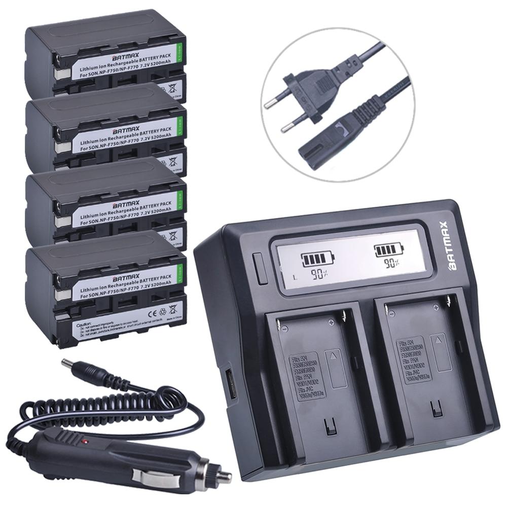 4Pcs 5200mAh NP-F770 NP-F750 NP F770 NP F750 750 Batteries + Ultra Faster LCD DUAL Charger Kits for Sony CCD-RV100 DCR-TRU47E видеорегистратор hp f770