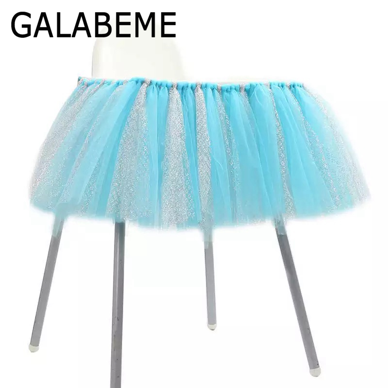 Galabeme 100CMx35CM Tulle baby chair skirt table High Chair skirt boy Baby Shower Decoration kids girl Birthday party decoration