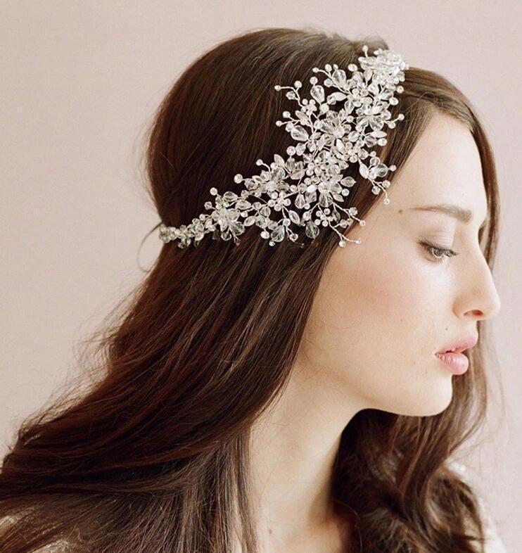 Fashion Wedding Decoration Hair Clip Vintage Crystal Wedding Headband Rhinestone Flower Bridal Headdress Women Accessory все цены