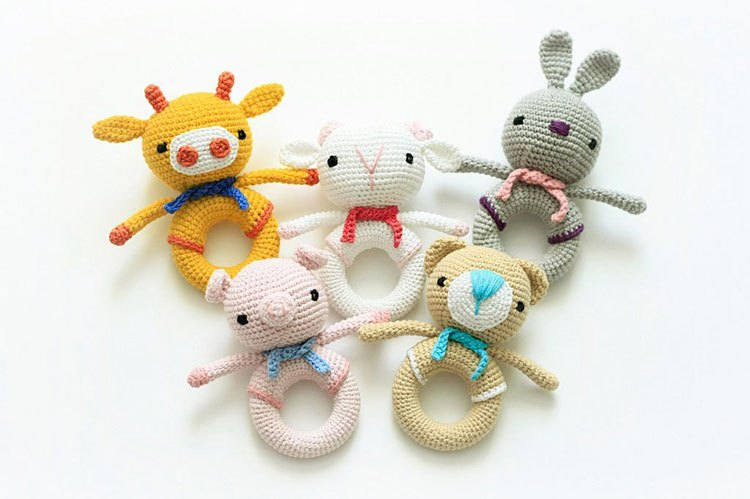Crochet Handmade  Animal  Love  Many Style Baby Rattle Toy And Doll Gift