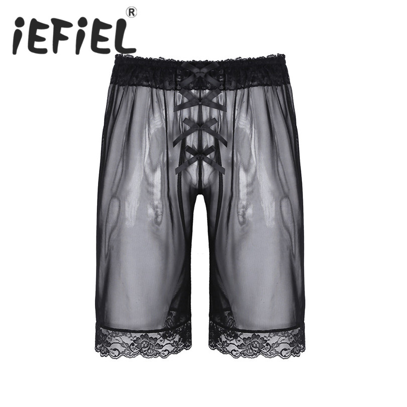 iEFiEL Sexy Mens Lingerie Sissy Fashion Lingerie Soft Mesh Lace Bowknot Loose Shorts Boxer Pants Underwear Jockstraps