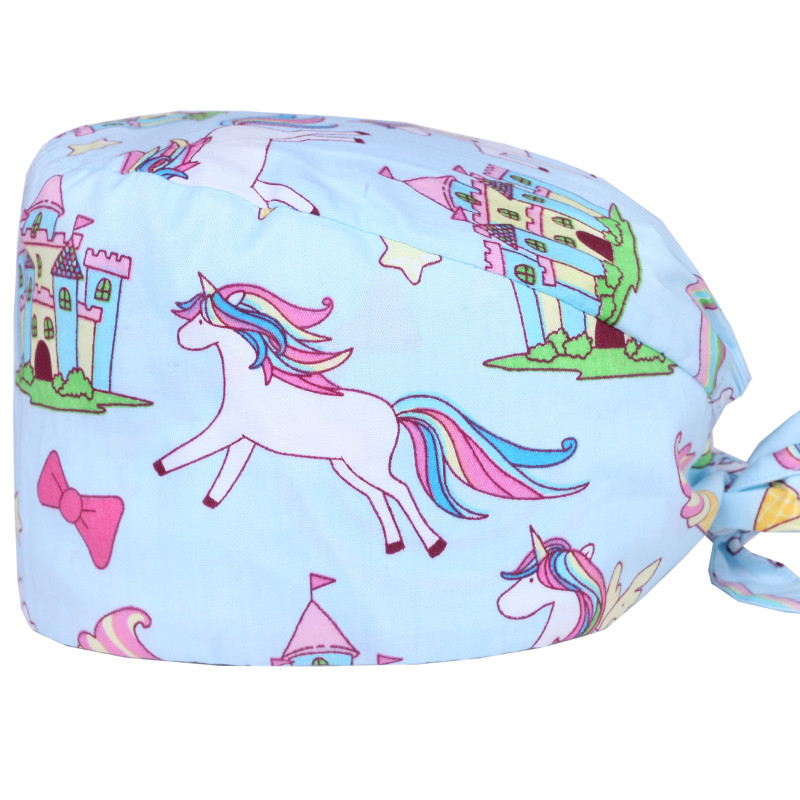 Unicorn Women's Surgical Scrub Hats Medical Scrub Cap Hospital Nurse Doctor Working Hat 100% Cotton Dentist Chemo Hats