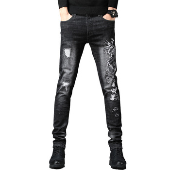 Dragon Embroidery Denim Jeans Men Slim Fit Biker Zipper Fly Skinny Frayed Male Hole Pencil Pants Distressed Ripped Trousers фото