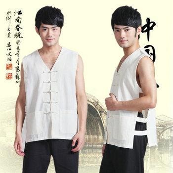 Chaqueta tradicional china sin mangas, uniforme de kungfú chino antiguo para hombre, traje Tang, chaqueta de Tai Chi, ropa Wushu 89