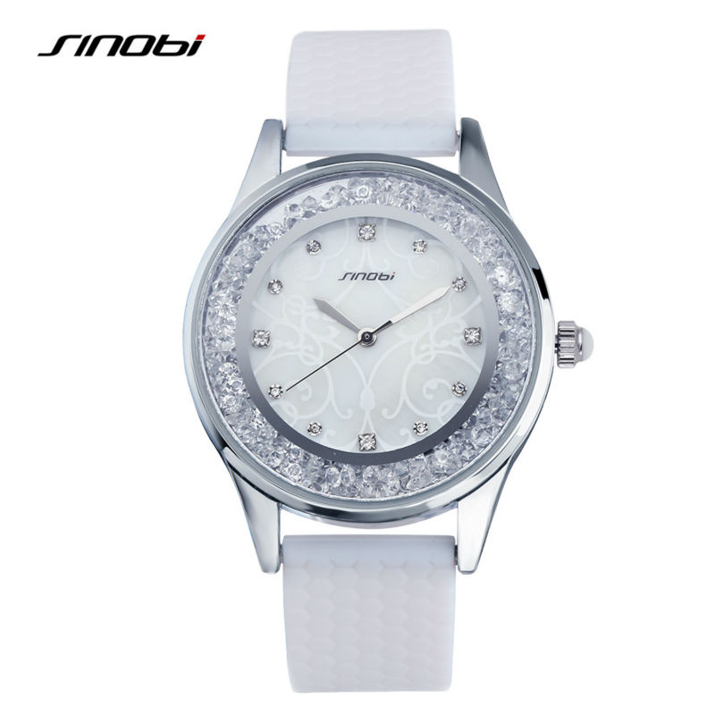 SINOBI Montre Femme 2017 Fashion Womens Crytal Wrist Watches White Watchbands Gifts for the New Year