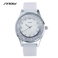 SINOBI Montre Femme 2017 Moda Para Mujer Relojes de Pulsera Blanco Crytal correas de Reloj Regalos para el Año Nuevo de Las Señoras de Ginebra Relojes De Cuarzo