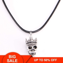 Thomas skull Plated silver Pendant & Faux Leather Necklace, Rebel Heart Jewelry for Men Women TS my NB130 pendant lily skull skeleton 925 sterling silver to men punk heart jewelry fashion rebel thomas key chains pendant fit necklace