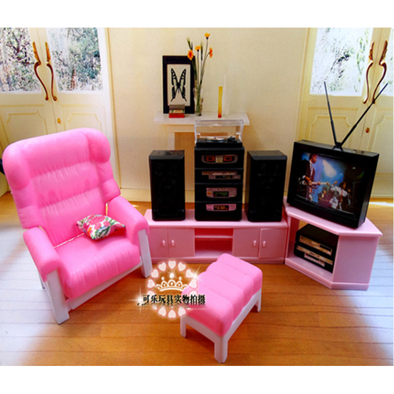 US $24.33 35% OFF|For Barbie Doll Furniture Accessories Plastic Toy Living  Room Furniture Set TV Speaker Sofa Pillow Table Gift Girl DIY on ...