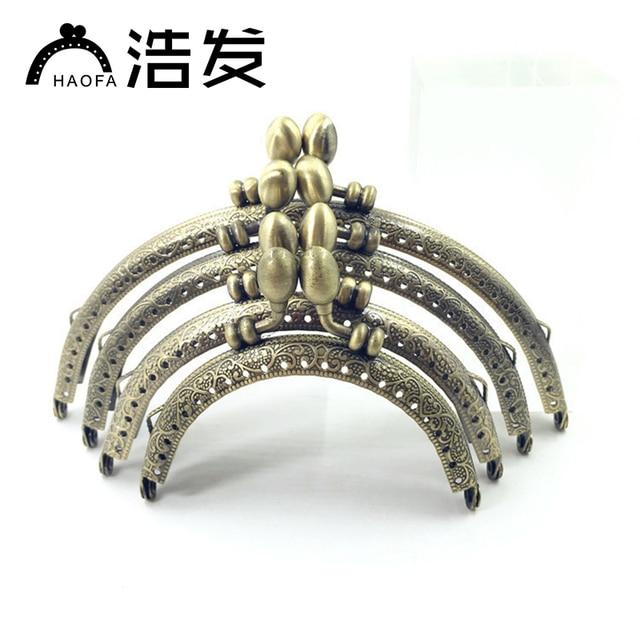 HAOFA 10 adet 8.5cm 10.5cm 12.5cm 15cm Metal bronz DIY aksesuarları öpücük toka kilitli çanta kolu çerçeve bozuk para cüzdanı çerçeve