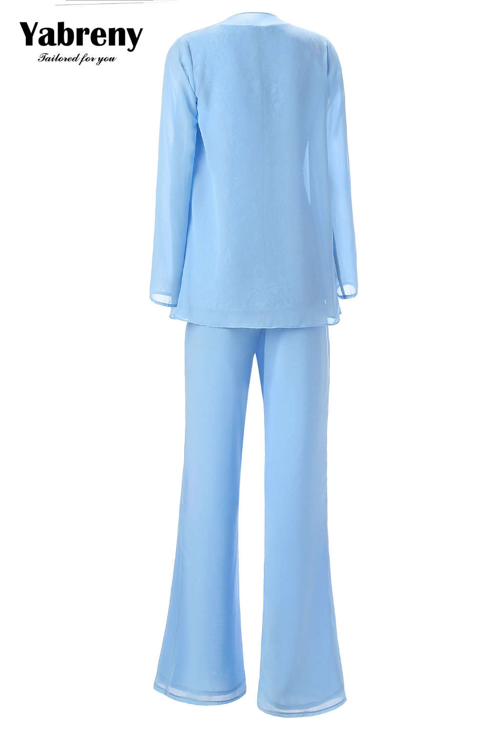 Yabreny Elegant Mother of the Bride Pants suit Sky blue Outfit for Wedding Party MT001704-1