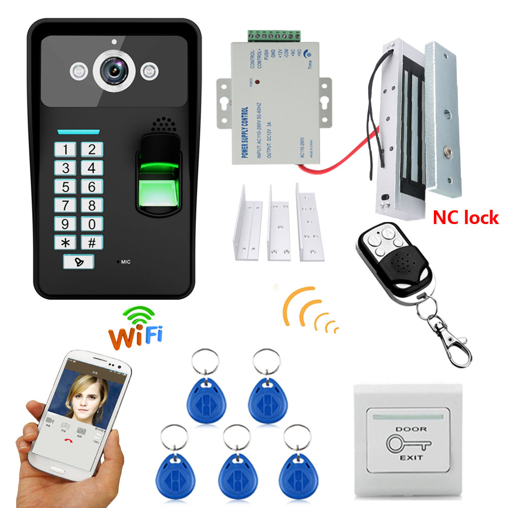 A Complete set of RFID Door Access Control System Kit Set + Electric Magnetic Door Lock Waterproof Video Doorphone intercom diysecur magnetic lock door lock 125khz rfid password keypad access control system security kit for home office