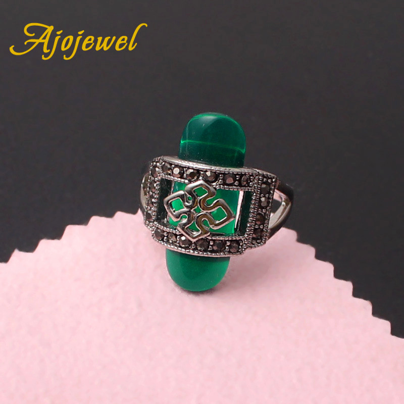 Ajojewel Vintage Hollow Red/Green Rings For Women New Arrival Amazing 3 Colors Anels For Women Antique Style