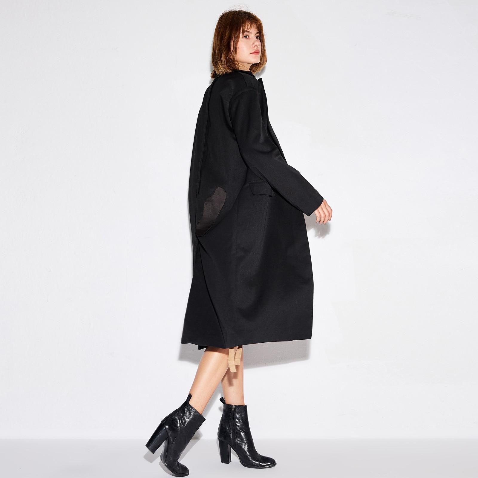 Black Amii Manteaux Cardigan Lâche Noir Coat Bureau Oversize De Wool 2018 Mode Automne Longue Femmes Solide Tranchée Poches Minimaliste Hiver Manteau fgY7vmIby6