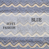 130cm wide light blue vintage cutout water soluble lace material eco friendly standard fabric