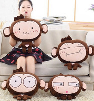 Plush 1pc cartoon naughty shy monkey office cushion + warm blanket stuffed toy creative romantic gift for baby
