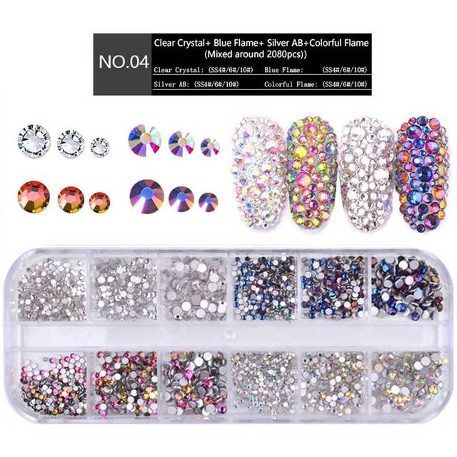 1 Box Multi Size Glass Nail Rhinestones Mixed Colors Flat-back AB Crystal Strass 3D Charm Gems DIY Manicure Nail Art Decorations 3