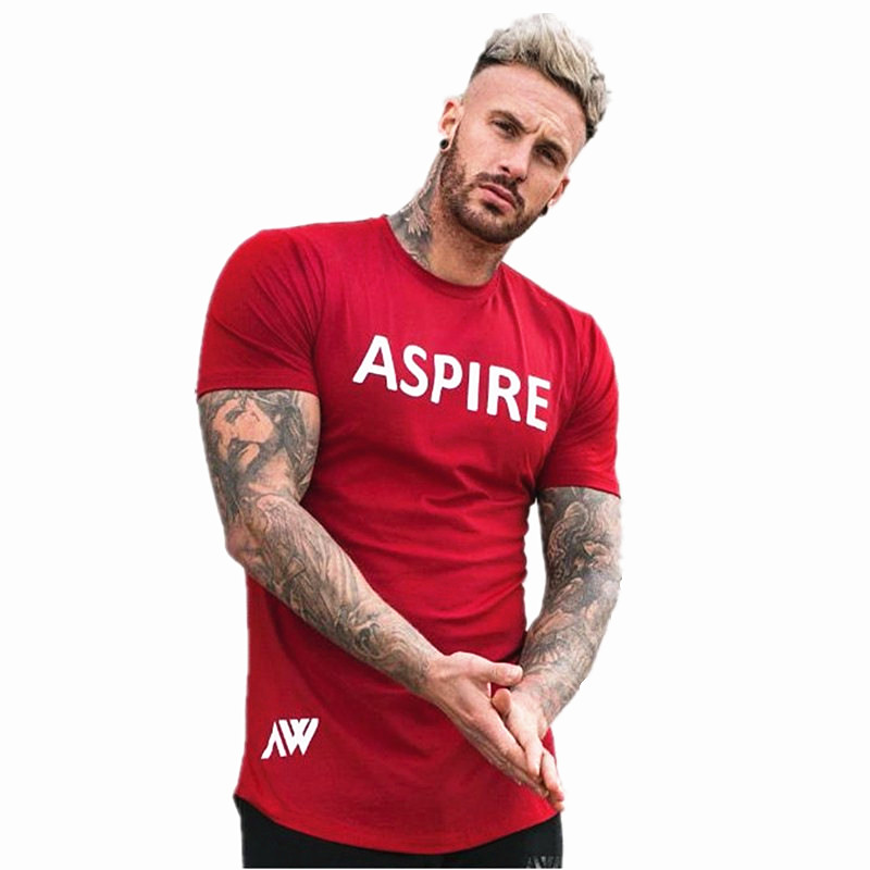 2019 Summer New Casual Fashion Bodybuilding t shirt Short sleeves Slim fit Cotton Mens Gyms Fitness Jogger Breathable Tees top