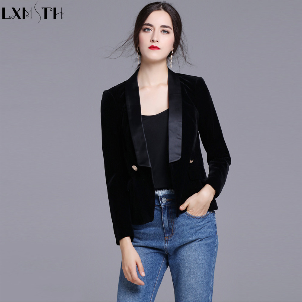 New Black Velvet Blazers Women Slim Double Breasted Button Women s Casual Suit Coat Jackets ladies