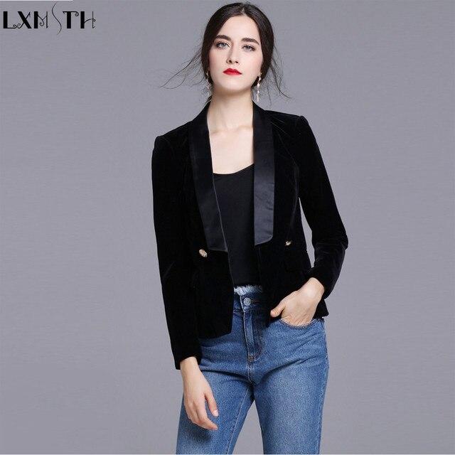 Nueva negro terciopelo Blazers mujeres doble pecho botón mujeres chaqueta  ocasional de Chaquetas señoras Oficina Blazers 0a7b29d7963